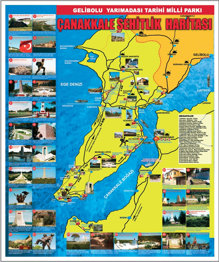 Çanakkale Şehitlik Haritası