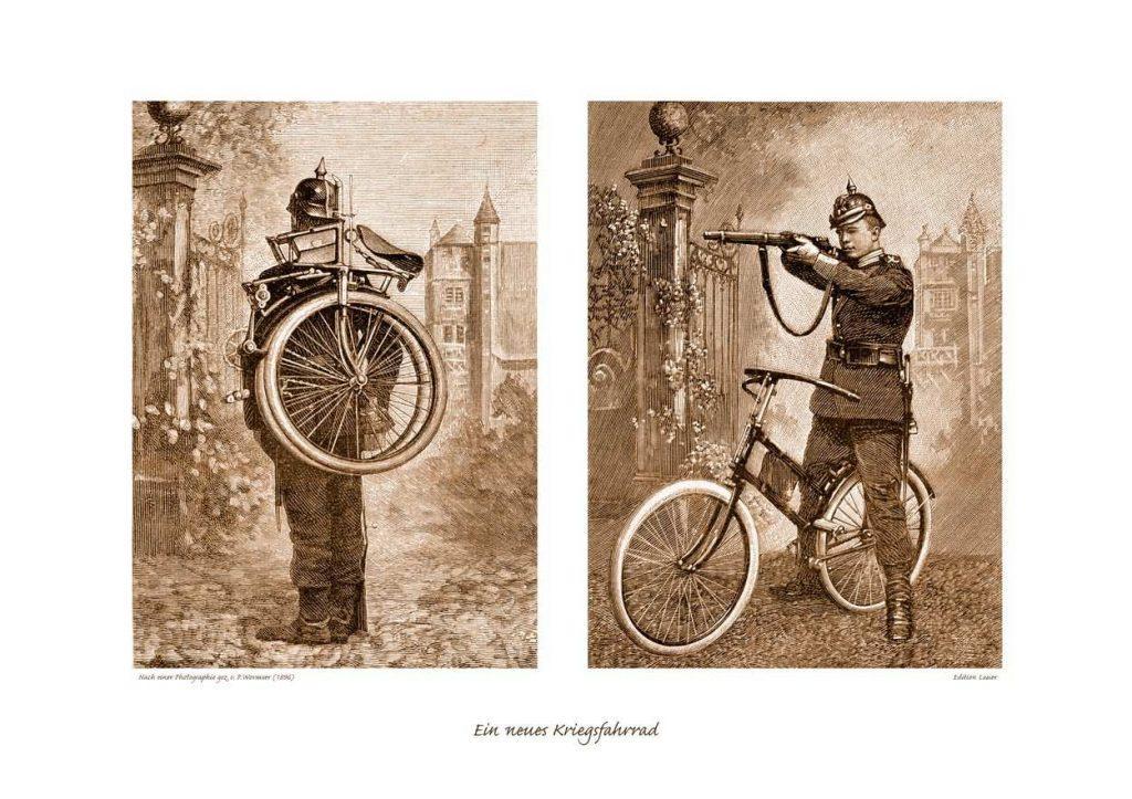 Gerçek savaşta bisikletlerin bilinen ilk kullanımı, 1895'in sonlarında bir İngiliz sömürge devlet adamı ve birlikleri tarafından Güney Afrika Cumhuriyeti'ne karşı başarısız bir baskın olan ve bisikletçilerin haberci olarak kullanıldığı Jameson Baskını sırasında gerçekleşti.